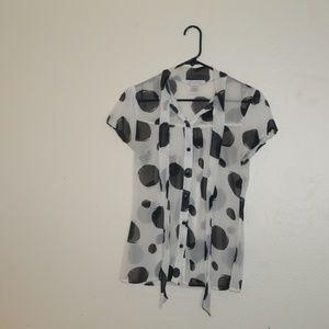 Charlotte Russe large polka dot sheer size M shirt